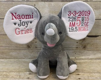 A PERSONALISED ELEPHANT FACE CLOTH  EMBROIDERED EASTER GIFT PRESENT WITH A NAME