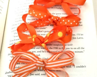 Orange Hair Bow Set (4 bows) with VELCRO® brand fasteners - Girls Infant Hair Bow Set with VELCRO® brand fasteners