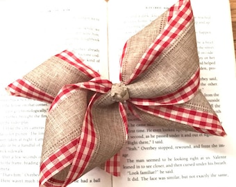 Burlap and Red Gingham Hair Bow