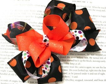 Boutique Stacked Black and Orange Halloween Hair Bow