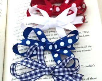Patriotic - Red, White and Blue Hair Bow Set (5 bows) with VELCRO® brand fasteners - Girls Infant Hair Bow Set with VELCRO® brand fasteners