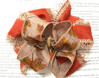 Boutique Stacked Leaves and Burlap Loop and Pinwheel Hair Bow