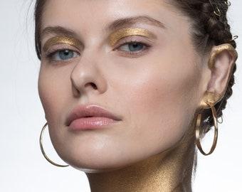 Wide Wave Hoop Earrings, Large Gold Hoop Earrings, Thick Simple Hoop in 14K Gold Filled, Hammered Gold Hoops, 3mm wide,