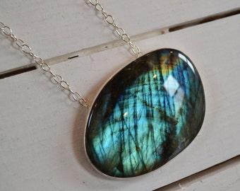 Northern Lights Labradorite Necklace- Statement Necklace, Big Stone Pendant, Sterling Silver Stone Necklace
