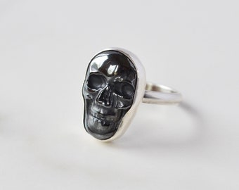 Hematite Skull Ring, Metallic Skull in Sterling Silver, Goth Ring, Stone Skull Statement Ring, Punk, Halloween