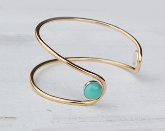 Piedra de la turquesa doble órbita pulsera 14 k oro brazalete lleno pulsera, brazalete de piedras preciosas, pulseras de turquesa, pulsera brazalete abierto