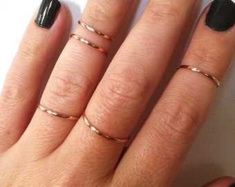 5 Gold Midi Rings Set, Gift Set of Gold Knuckle Rings, Rose Gold Rings, 14K Gold Filled Stacking Ring Set. any sizes