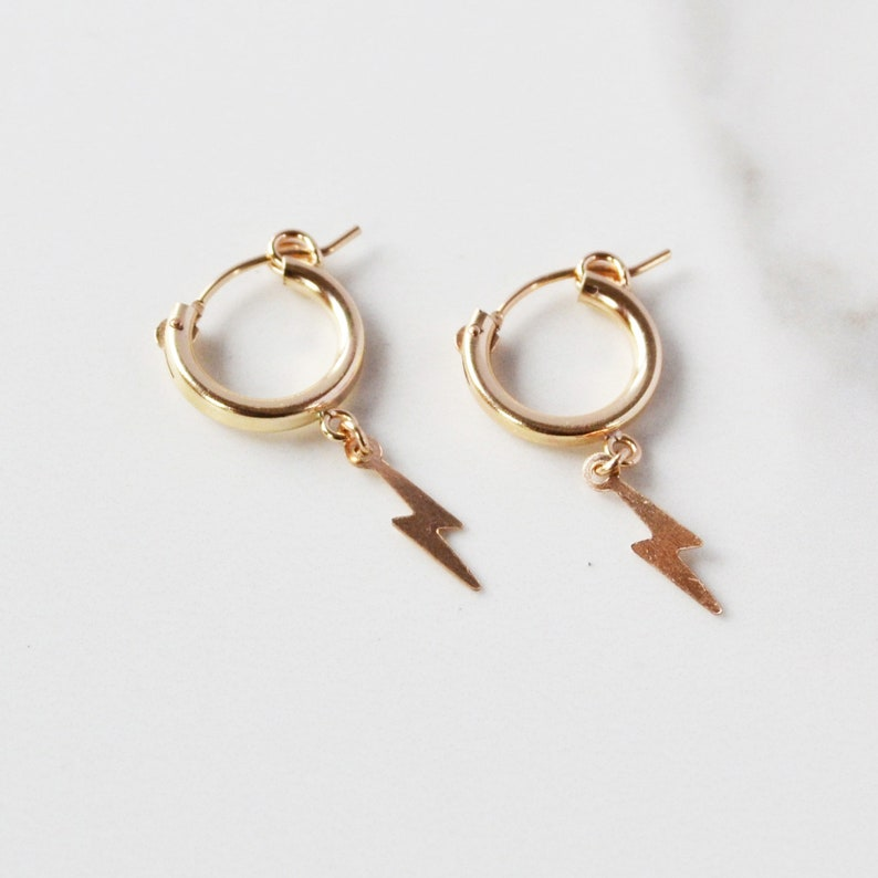 732a5c316 Lightning Bolt Huggie Earrings Gold Huggie Earrings Small | Etsy
