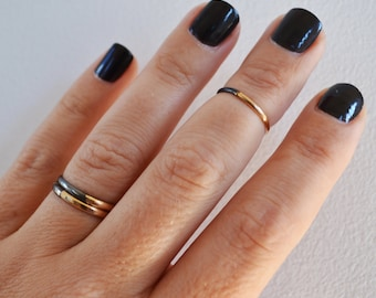 Set of 2 Crescent Rings, Black and Gold Midi Rings, Gold Stacking Rings, Knuckle Rings in any sizes