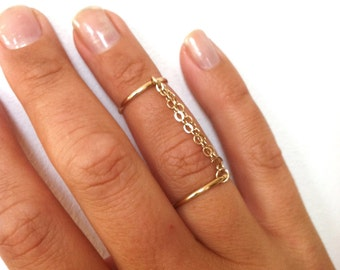 Handcuff Ring, Double Chain Ring, Double Band Ring, Connected Ring, Rose Gold Ring, Gold Filled, or Sterling Silver Knuckle Ring, Seen on DA