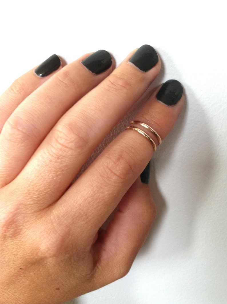 Thin Gold Knuckle Ring 14K Gold Filled Ring Gold Midi Rings image 0