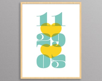 Personalized Wedding Gift (Date Print) - a modern design print // 8.5x11 or 13x19 // custom wedding or anniversary present