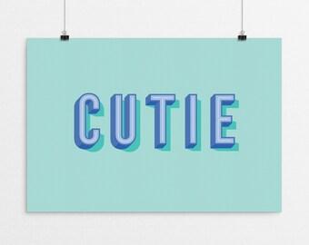 CUTIE Typography - a design print // 8.5x11 or 13x19 // 5 color options // Scandinavian modern nursery