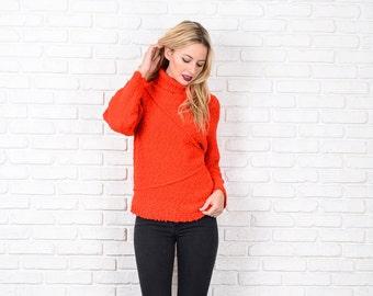 Vintage 80s Red Retro Sweater Nubby Knit Turtleneck Small Medium S M 87001