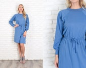Vintage 70s 80s Blue Long Sleeve Dress Ribbed Collar Draped Mini Small S 11937