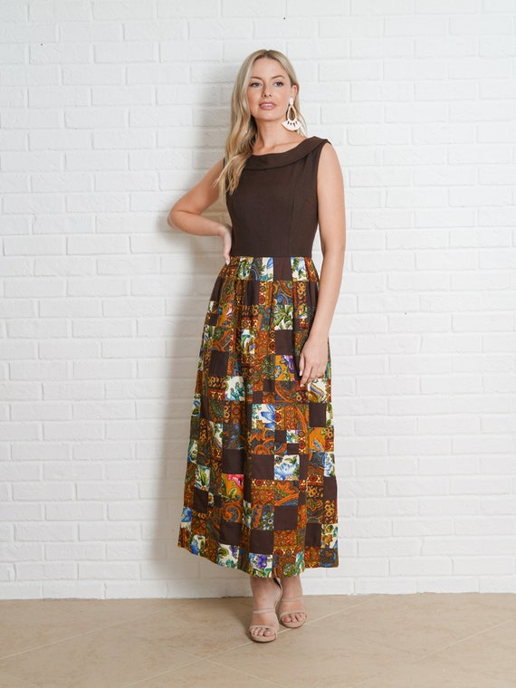 Vintage 60s Brown Patchwork Dress Paisley Floral … - image 2