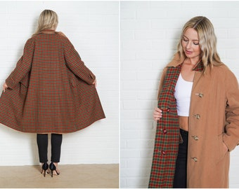 Vintage 70s Wool Reversible Peacoat Coat Plaid Striped Large XL