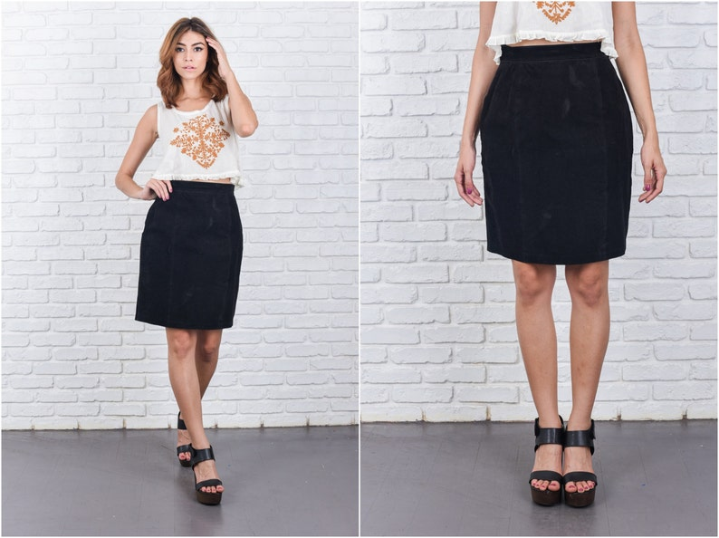 3b6876b43 Vintage 80s Black Suede Leather Skirt High Waist Mini Small S   Etsy