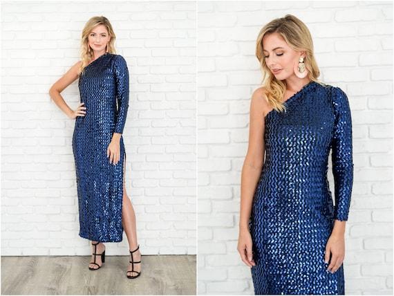 Vintage 80s Blue Sequin One Shoulder Dress Party C