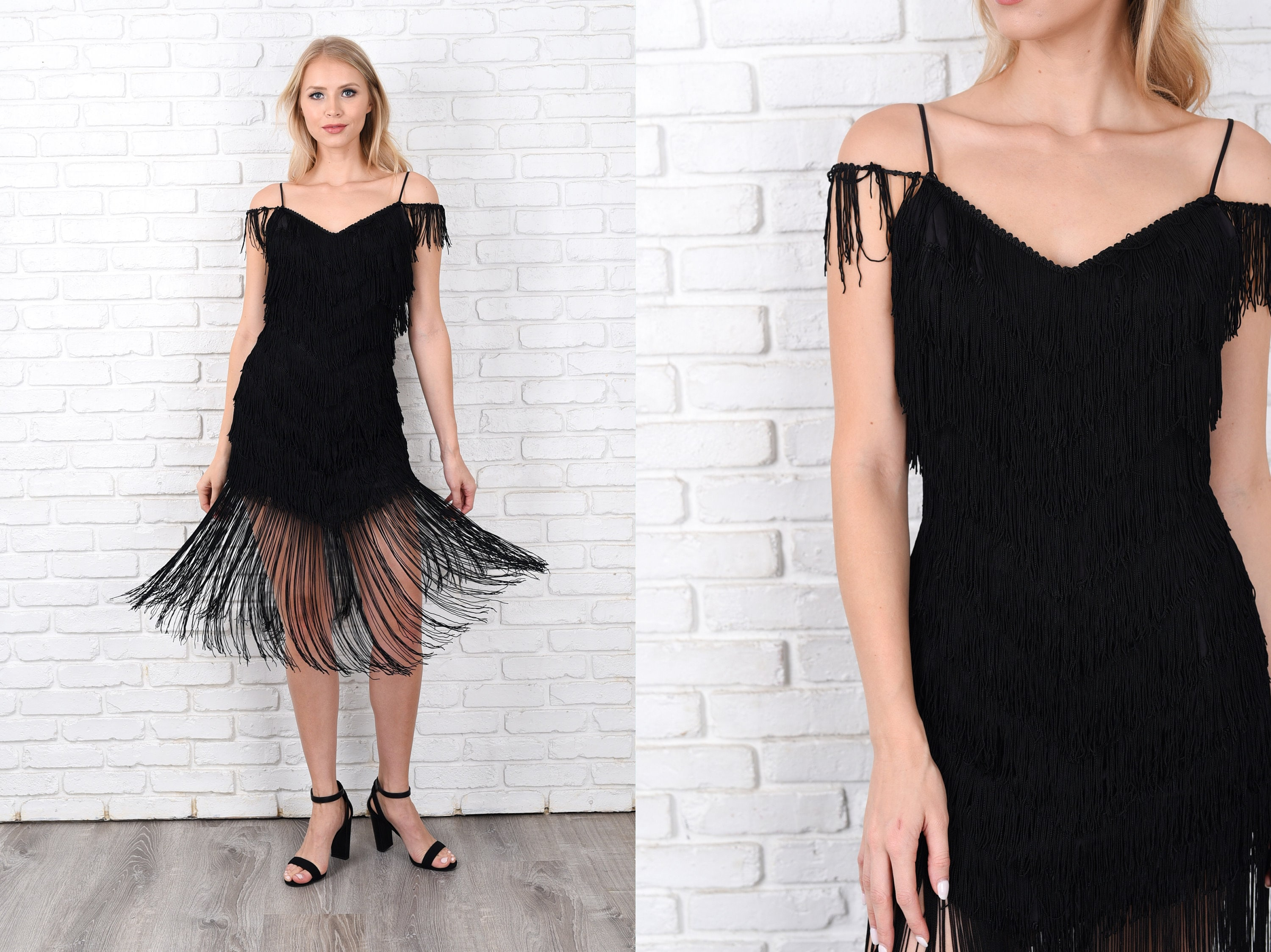 afdab94efe1 Vintage 80s Flapper Dress Black Fringe Cocktail Party Deco XS