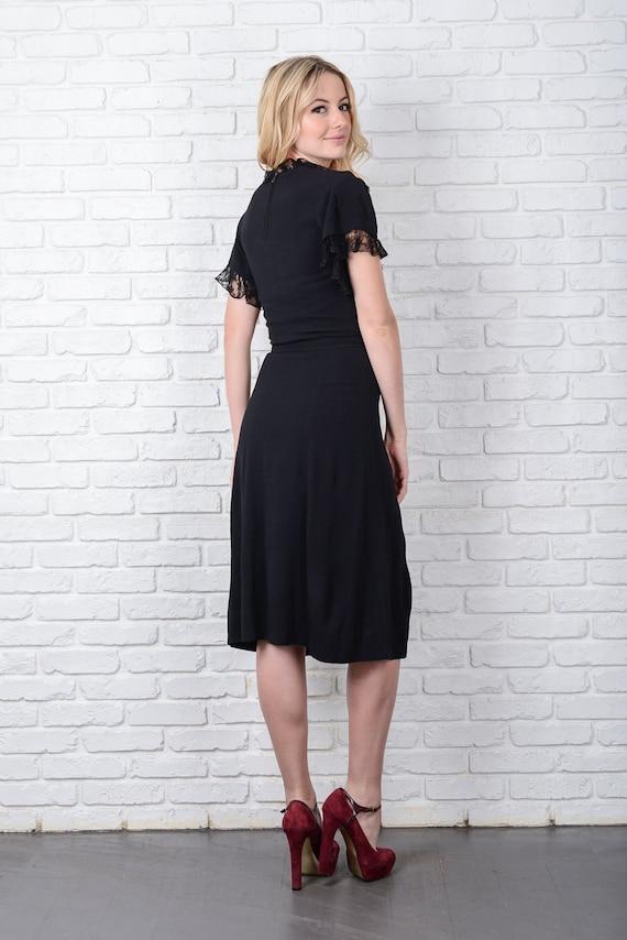 Vintage 40s 50s Black Cocktail Dress Party Lace K… - image 5