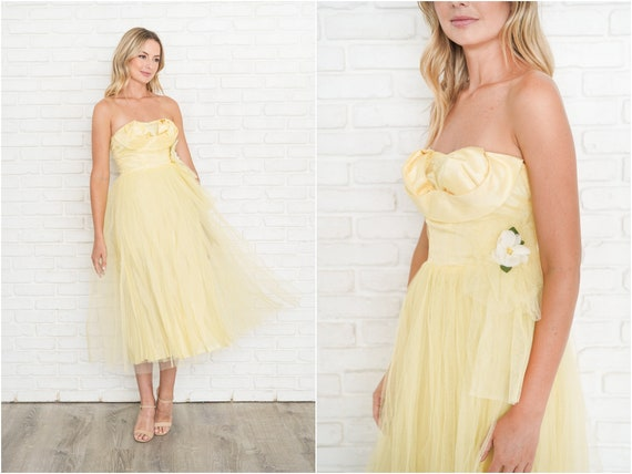 Vintage 50s Yellow Strapless Dress Tulle Cocktail