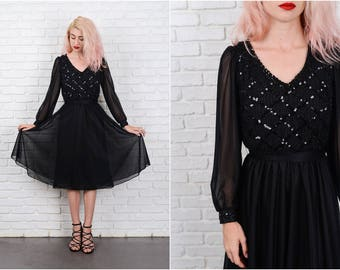 Vintage 70s Sequin Dress Party Cocktail Puff Slv Flowy Full Small S 9732