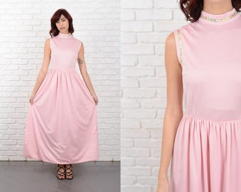 Vintage 70s Pink Mod Dress Grecian Goddess Gold Floral Geo Small S 10754