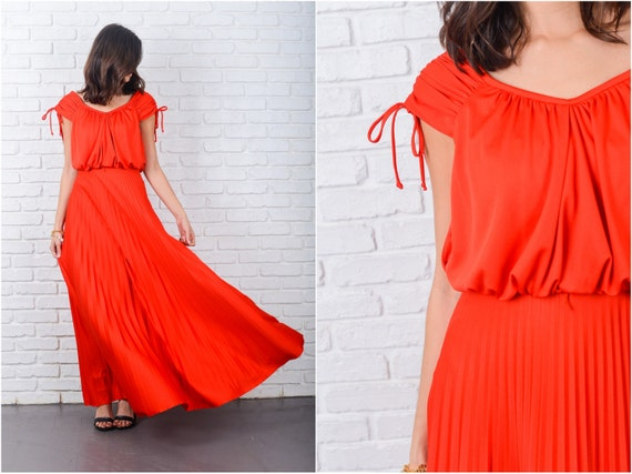 Vintage 70s Red Maxi Dress Draped Accordion Pleate