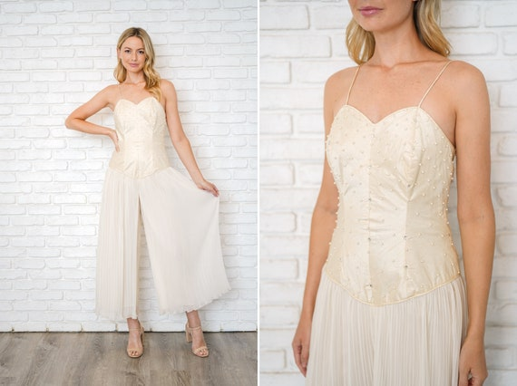 Vintage 80s Cream Beaded Jumpsuit Fortuny Pleated