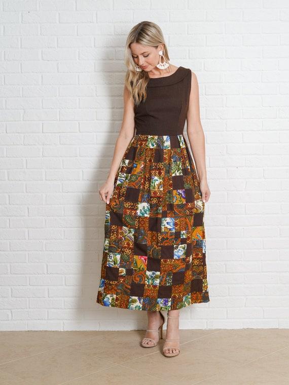 Vintage 60s Brown Patchwork Dress Paisley Floral … - image 3
