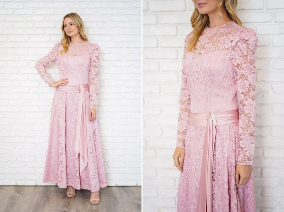 Vintage 80s Pink Floral Lace Dress Full Maxi Puff