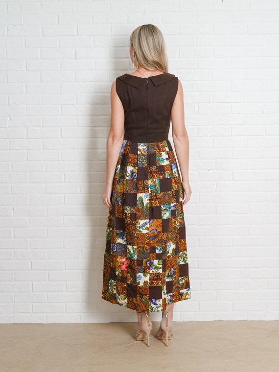 Vintage 60s Brown Patchwork Dress Paisley Floral … - image 5