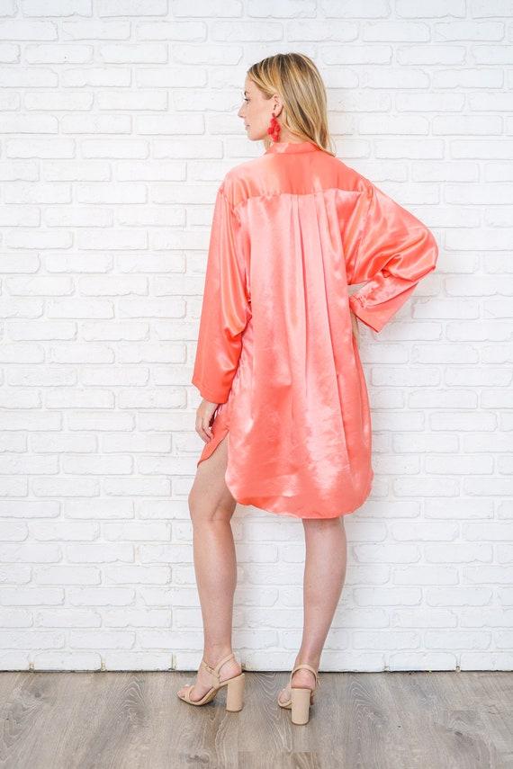 Vintage 80s 90 Pink Satin Shirtdress Oversize Slo… - image 6