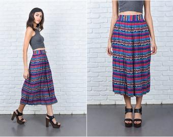 Vintage 80s Striped Pleated Skirt Teal Pink Blue Floral Print Midi M L 7385