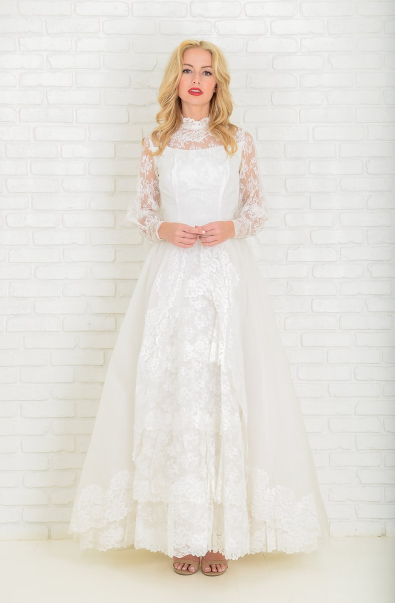 4d62893c029 Vintage 60s White Wedding Dress Gown Floral Lace Full XS Sheer