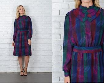 Vintage 70s Purple + Blue Striped Dress Leaf Tiered Layered Puff Sleeve Medium 8987