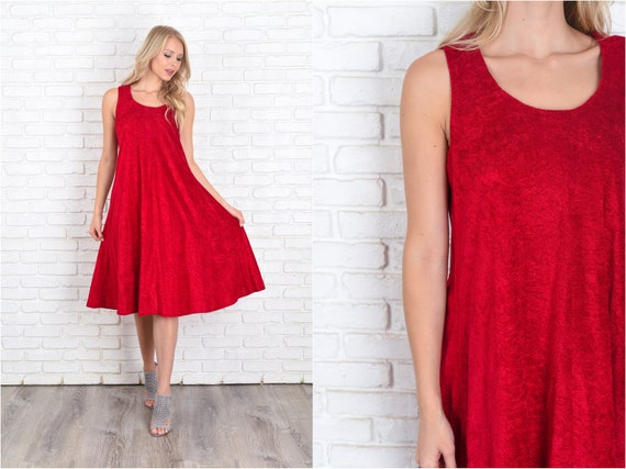 Vintage 70s Red A line Dress Sleeveless Mod Terry