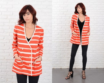 Vintage 60s Bold Striped Top Knit Double Breasted V neckline Medium M Cardigan 10781