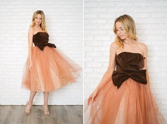 Vtg 50s Neapolitan Cocktail Dress Pink Brown Velve