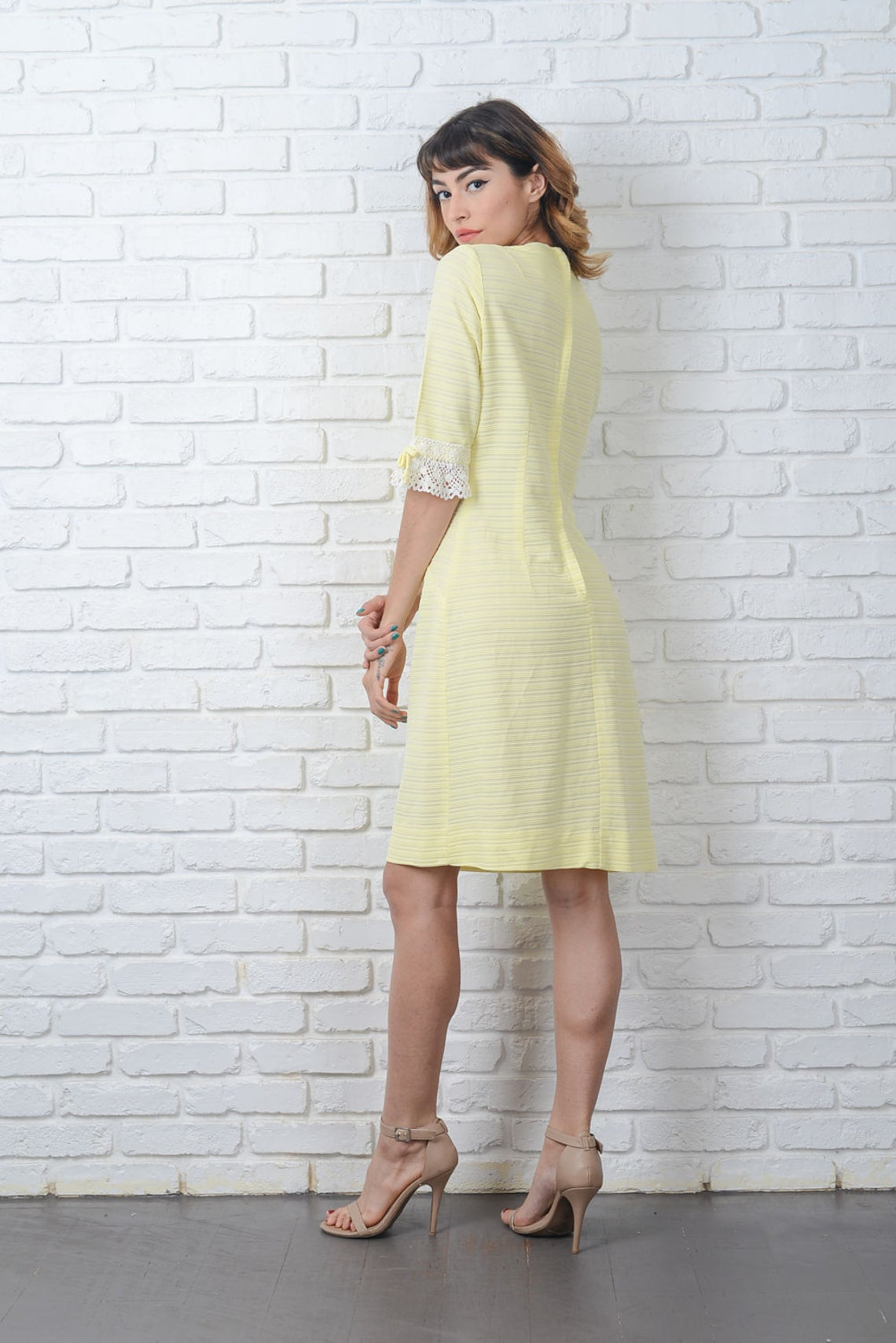 Vintage 60s Yellow Mod Dress Striped Crochet Lace Cocktail