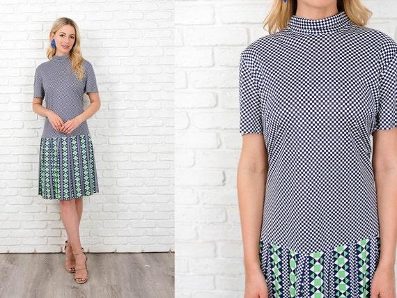 Vintage 60s Geometric Dress Mod Striped Checkered