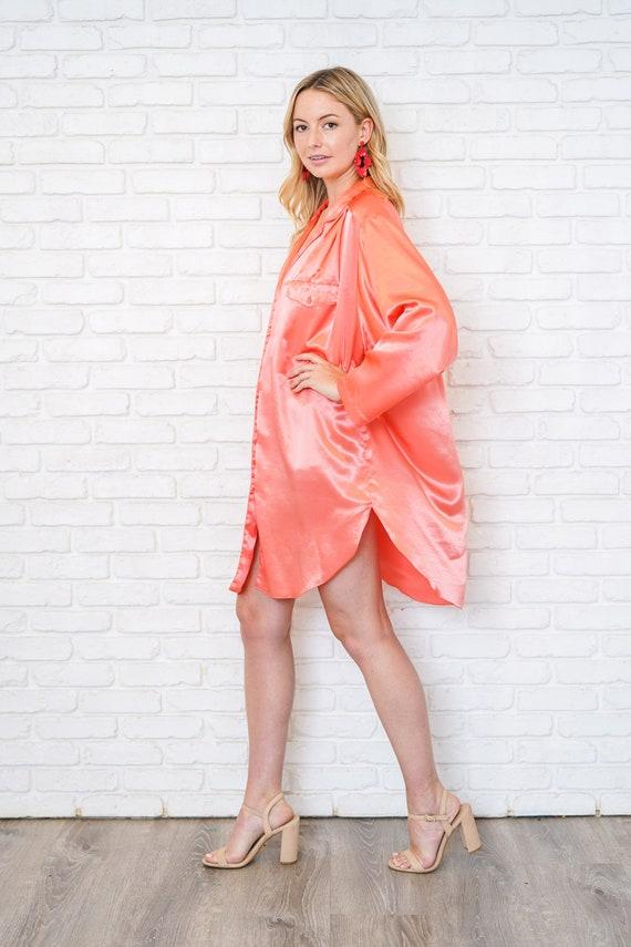 Vintage 80s 90 Pink Satin Shirtdress Oversize Slo… - image 5