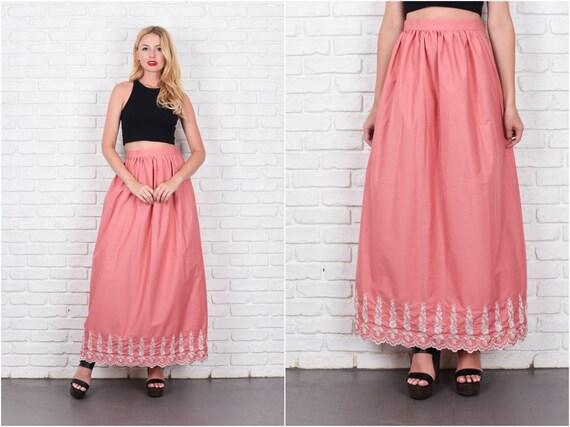 Pink Boho Hippie Skirt High Waist Maxi Embroidered
