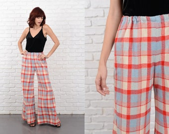 Vintage 70s Red + Blue Plaid Trousers Pants Wide Leg Palazzo High Waist Wool M L 10759