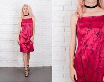 Vintage 80s Cranberry Dress Floral Leaf Print Medium M Retro party 9728