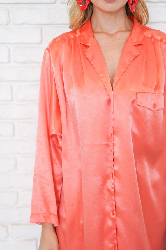 Vintage 80s 90 Pink Satin Shirtdress Oversize Slo… - image 8