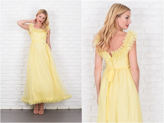 Vintage 60s Yellow Ruffle Cocktail Dress Party Max