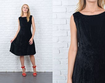 Vintage 60s 70s Black Crushed Velvet Dress A Line Sleeveless medium M 11155