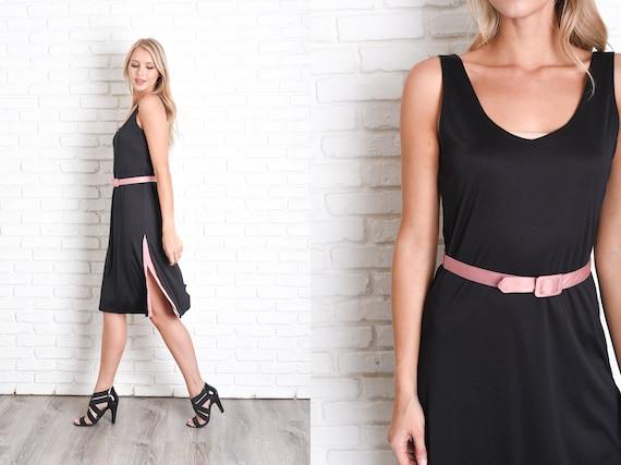 Vintage 80s Black Shift Dress Pink Sleeveless Belted Retro Etsy